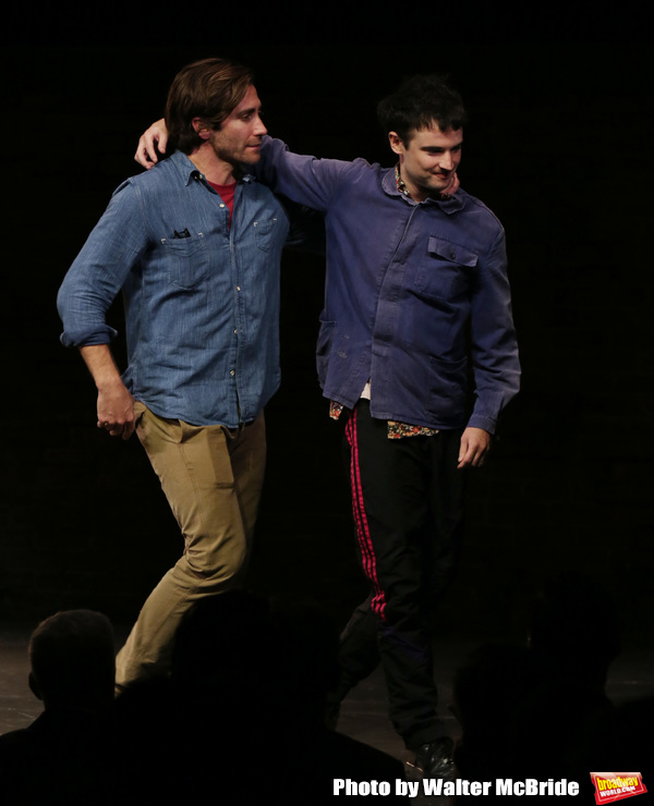 "Jake Gyllenhaal and Tom Sturridge during the Broadway Opening Night performance Curtain Call of ""Sea Wall / A Life"" at the Hudson Theatre on August 08, 2019 in New York City."