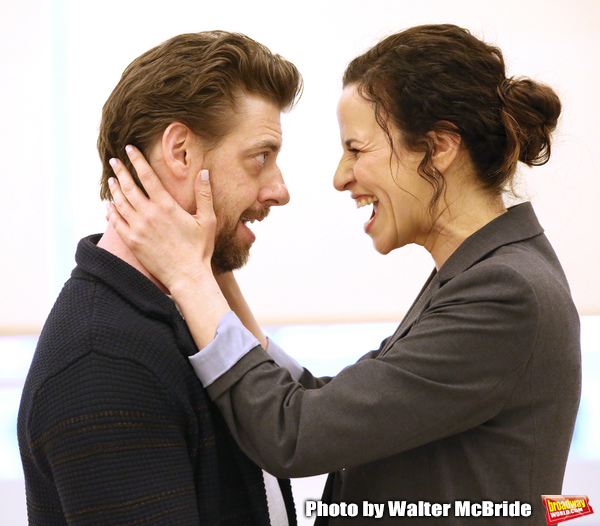 Christian Borle and Mandy Gonzalez during the rehearsal for The Kennedy Center produc Photo