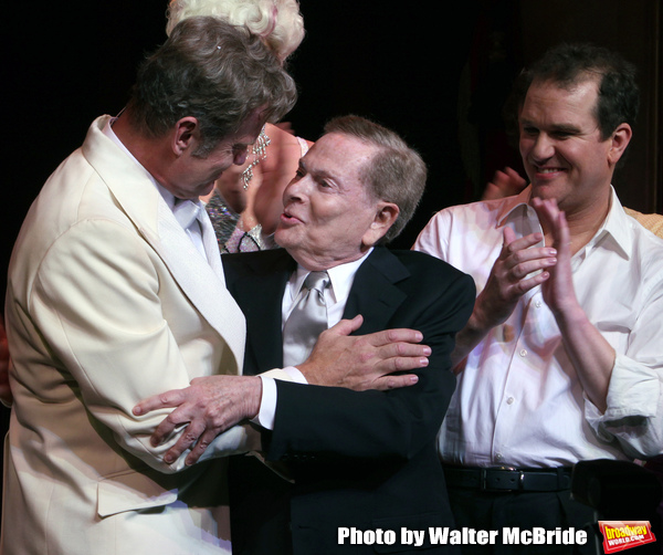 """Kelsey Grammer, Jerry Herman,  Douglas Hodges during the Broadway Opening Night Performance Curtain Call for  """"La Cage Aux Folles""""  at the Longacre Theatre in New York City. April 18, 2010"""