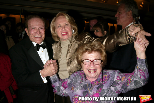 Dr. Ruth Westheimer and Liz Smith with Jerry Herman  attending the Opening Night performance for 'LA CAGE aux FOLLES' at the Marquis Theatre in New York City. December 9, 2004