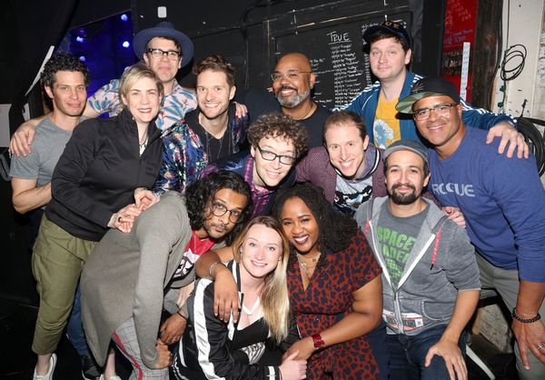 The cast of Freestyle Love Supreme with Director Thomas Kail and Producer Jenny Stein Photo