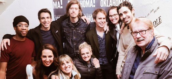 Sam Rockwell, Leslie Bibb, Chris Messina and the cast and musicians of Oklahoma! Photo