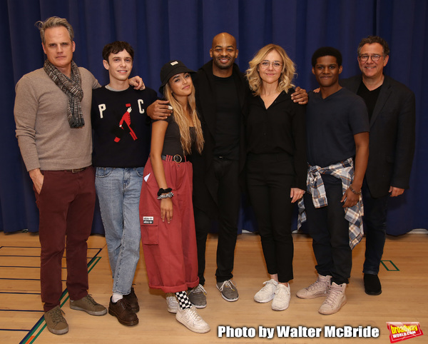 "Michael Park, Ben Levi Ross, Maia Reficco, Brandon Victor Dixon Rachel Bay Jones, Khamary Grant and Michael Greif during the press rehearsal for Kennedy Center's Broadway Center Stage production of  ""Next To Normal""  at The New 42nd Street Studios  on January 16, 2020 in New York City."