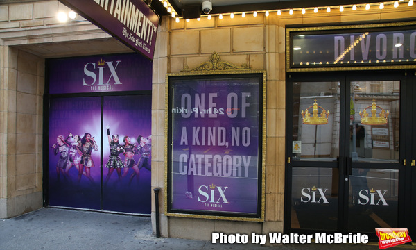 "Theatre Marquee unveiling for ""Six"" staged as a pop concert starring the six wives of King Henry VIII: Catherine of Aragon, Anne Boleyn, Jane Seymour, Anne of Cleves, Katherine Howard, and Catherine Parr at the Brooks Atkinson Theatre  on January 17, 2020 in New York City."