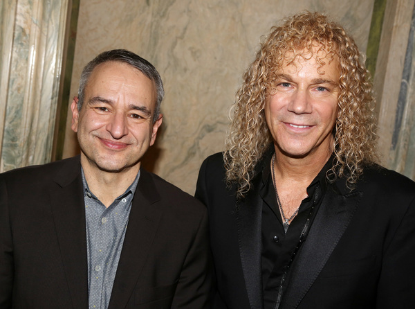 NEW YORK, NEW YORK - JANUARY 30:Joe DiPietro and David Bryan pose at a Meet & Greet f Photo