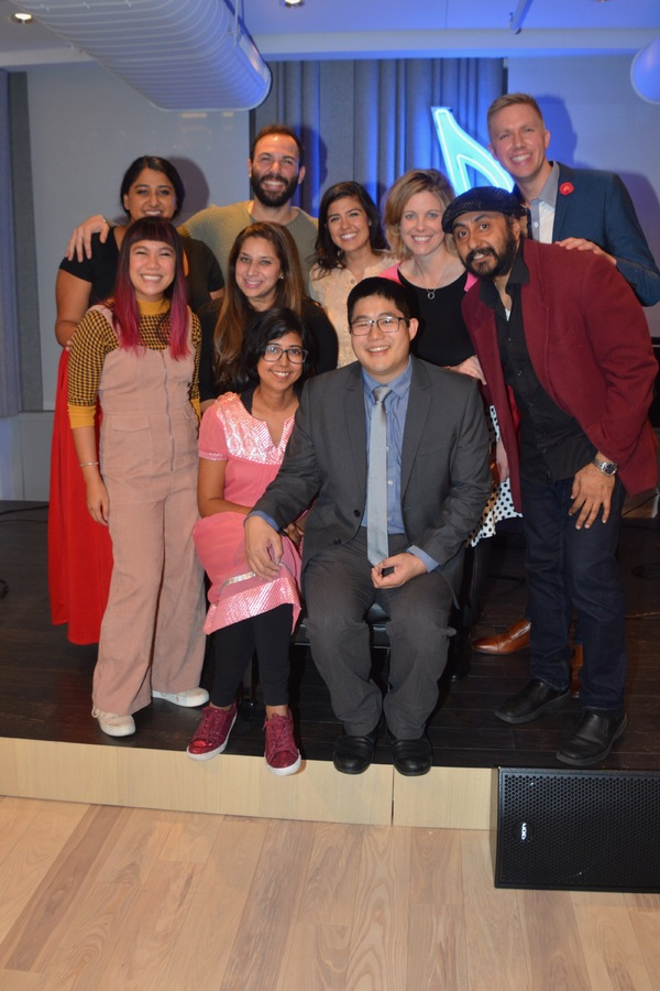 Rehana Lew Mirza and Mike Lew with their cast and creative team that includes Amy Cor Photo