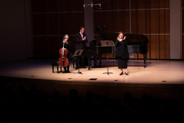 Allison Charney, Susan Salm and Craig Ketter acknowledging composer Marianna Rosett a Photo