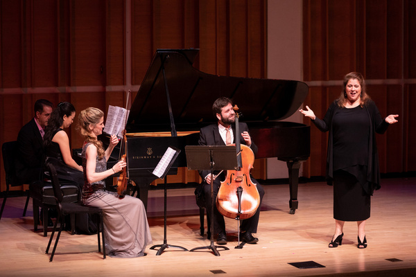 Allison Charney and the Neave Trio explaining the challenges of Rachmaninoff''s one m Photo