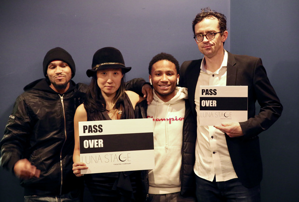 ''Pass Over'' Opening Night  Photo by Marilyn Lehren  From left to right: Malik Tory, Susan Hyon (Director of Strategic Planning), Naquan Tory, Nathan Darrow