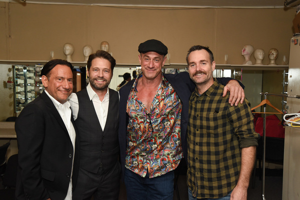 Eugene Pack (l.), Jason Priestley, Christopher Meloni, Will Forte. Celebrity Autobiog Photo