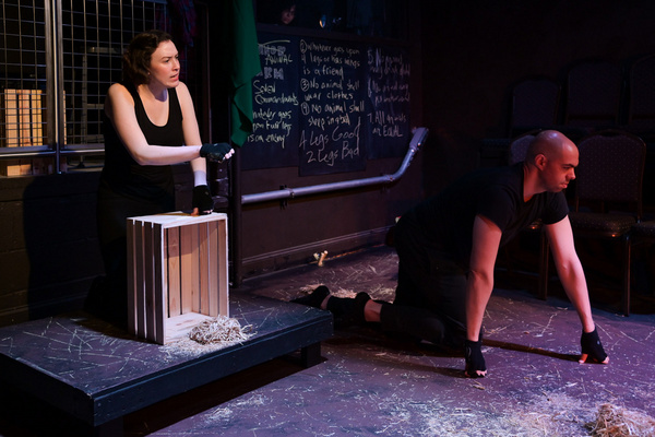 Laura Clare Browne and Brandon Walker in The Seeing Place Theater''s ANIMAL FARM.   P Photo