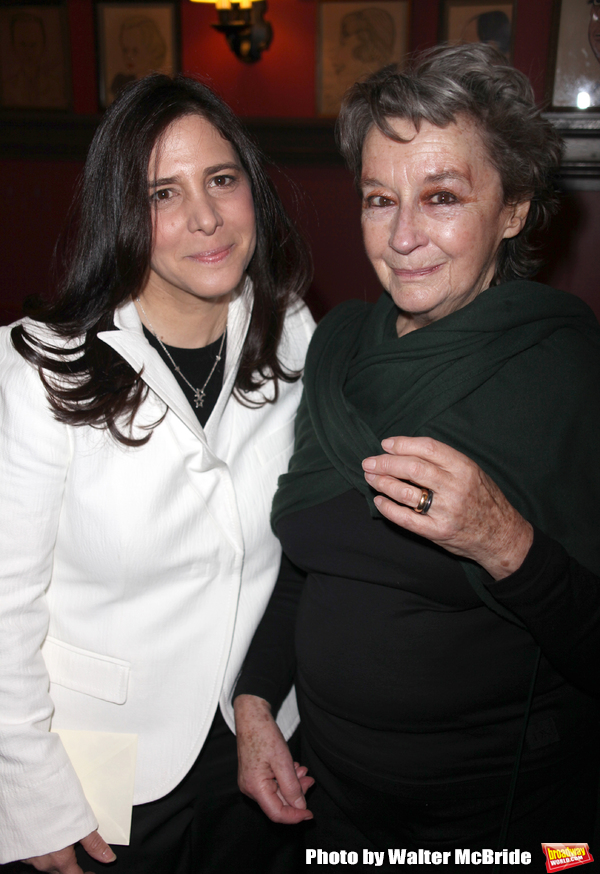 "Zoe Caldwell with Dori Berinstein receives the Commercial Theater Institute's Robert Whitehead Award for ""Outstanding Achievement in Commercial Theatre Producing"" at Sardi's Restaurant in New York City. March 10, 2009"