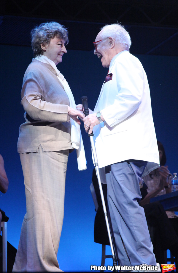 Zoe Caldwell & Aaron Frankel during the 2001 Theatre World Awards Presentation at the August Wilson Theatre in New York City.