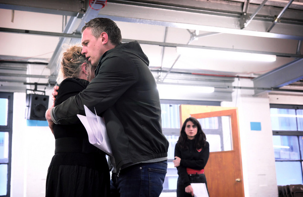 Eithne Browne, Mark Holgate and Shireen Farkhoy in rehearsals for Maggie May Photo