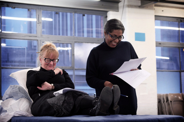 Eithne Browne and Maxine Finch in rehearsals for Maggie May Photo