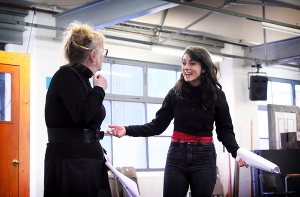 Eithne Browne and Shireen Farkhoy in rehearsals for Maggie May Photo