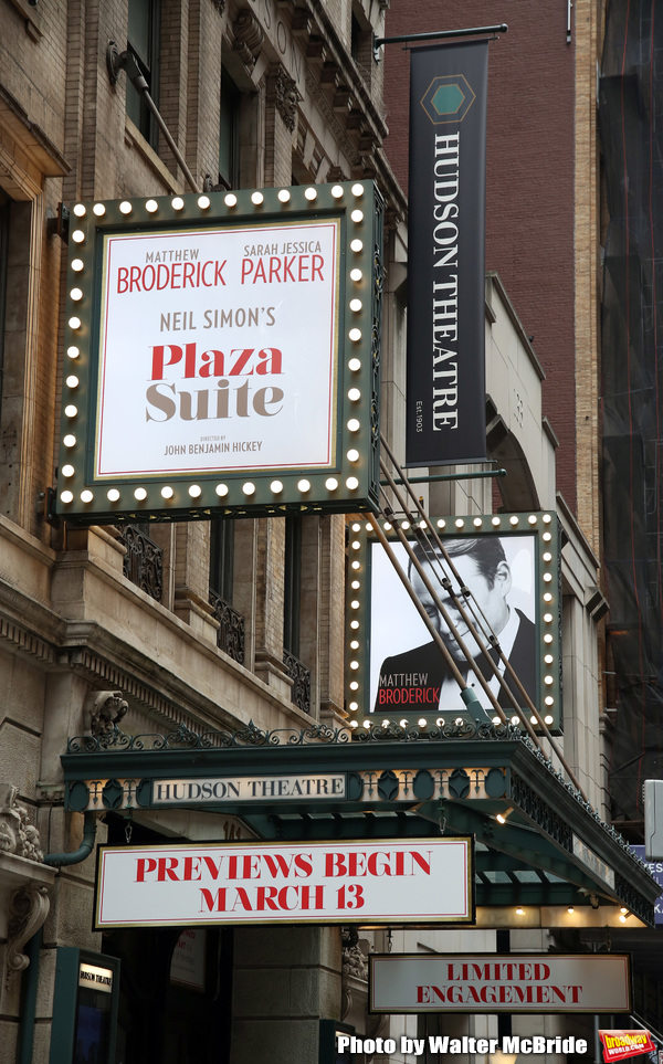"""Theatre Marquee for the Neil Simon Play """"Plaza Suite"""" starring Matthew Broderick  Photo"""