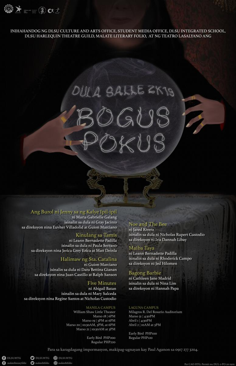 DLSU Harlequin Theatre Guild Presents Seven Plays in DULA SALLE 2K19: BOGUS POKUS
