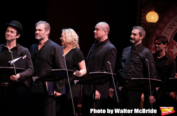 The ensemble cast featuring Denis O'Hare, Marc Kudisch, Sally Wilfert, Merwin Foard, Ken Krugman & Chris Peluso  during the Roundabout Theatre Company's One Night Only Benefit of 'Assassins' at Studio 54 in New York City. December 3, 2012.
