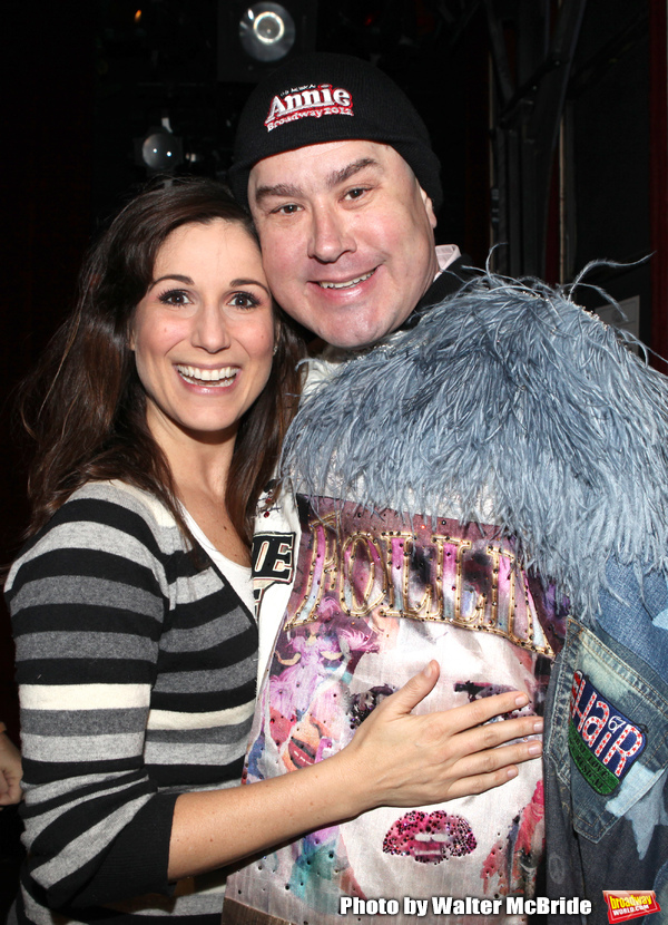 Stephanie J. Block & Merwin Foard (recepient for 'Annie') attending the Opening Night Photo