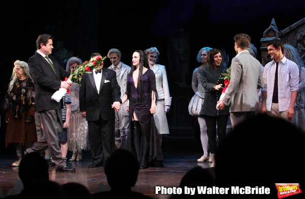 """KMerwin Foard,  Jackie Hoffman, Bebe Neuwirth, Nathan Lane, Adam Riegler, Krysta Rodriguez, Wesley Taylor taking bows during the Broadway Opening Night Curtain Call for """"The Addams Family"""" at the Lunt-Fontanne Theatre in New York City. April 8, 2010"""