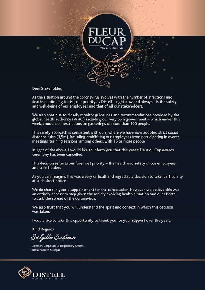 Fleur Du Cap Theatre Awards Cancellation
