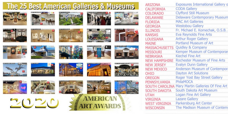 American Art Awards Announces The 25 Best Galleries & Museums For 2020