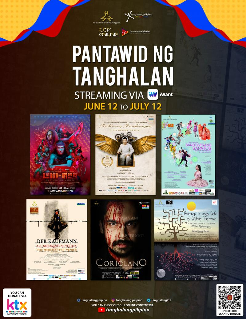 Six Tanghalang Pilipino Productions to Stream on iWant, Premieres 12 Jun 2020