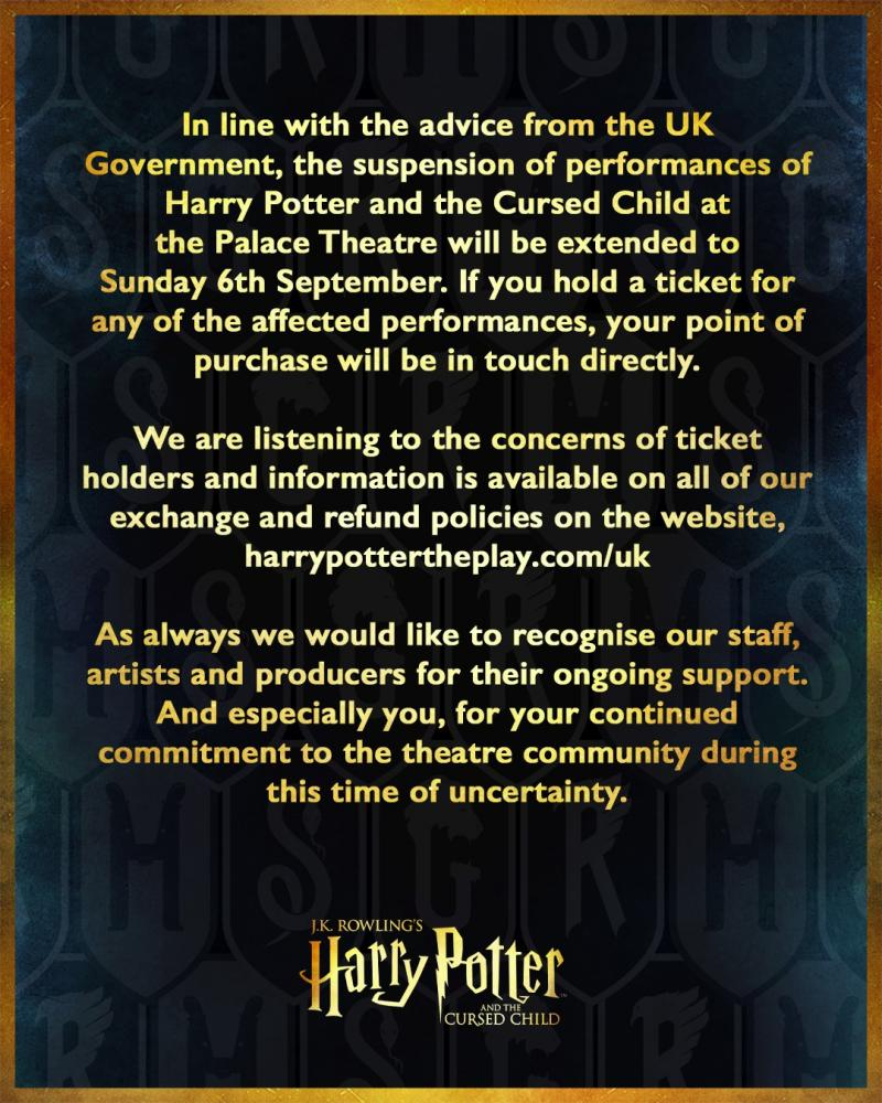London Production of HARRY POTTER AND THE CURSED CHILD Extends Suspension of Performances Through 6 September