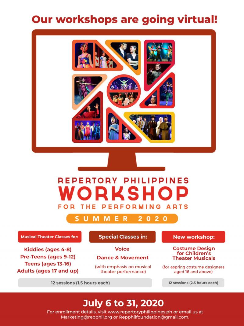 Repertory Philippines' Summer Workshops Migrate Online In July 2020