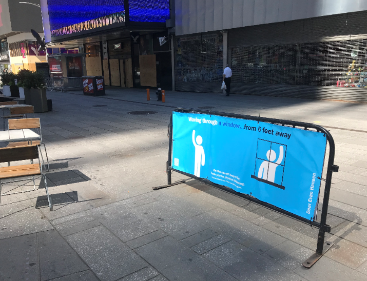 Photo Flash: Broadway-Themed Signs in Times Square Encourage Social Distancing