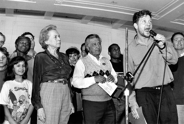 Elaine Steinbeck at a rally with Cesar Chavez and the cast of the Tony Award-winning  Photo