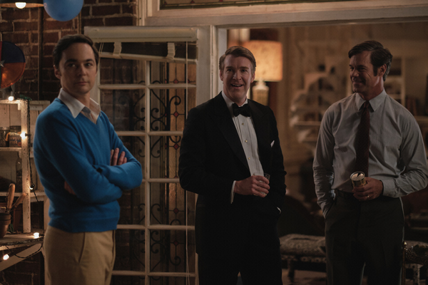THE BOYS IN THE BAND (2020) Jim Parsons as Michael, Brian Hutchison as Alan and Tuc W Photo