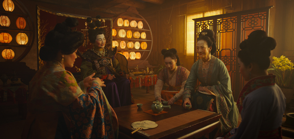 Disney's MULAN  L to R: Groom's mother, Matchmaker (Pei-Pei Cheng), Xiu (Xana Tang),  Photo