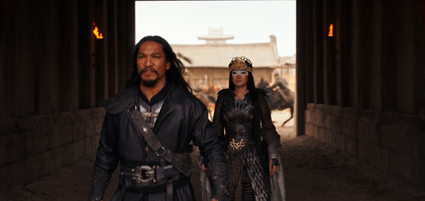 Disney's MULAN  L to R: Bori Khan (Jason Scott Lee) and Xianniang (Gong Li)  Photo: F Photo