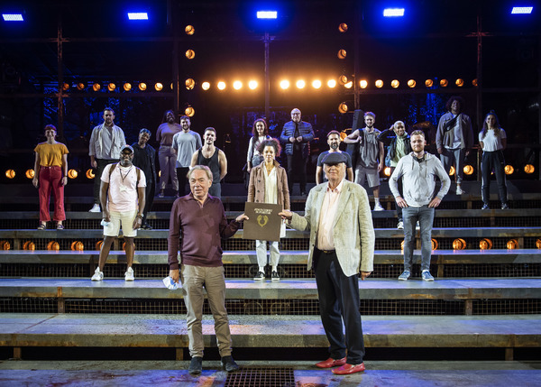 Lord Andrew Lloyd-Webber and Sir Tim Rice with the cast of Jesus Christ Superstar: Th Photo
