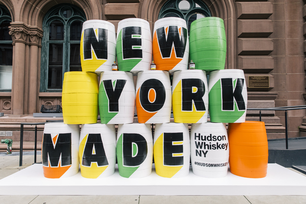 Photo Flash: The Public Theater and Hudson Whiskey Team Up for Barrel Art Installation