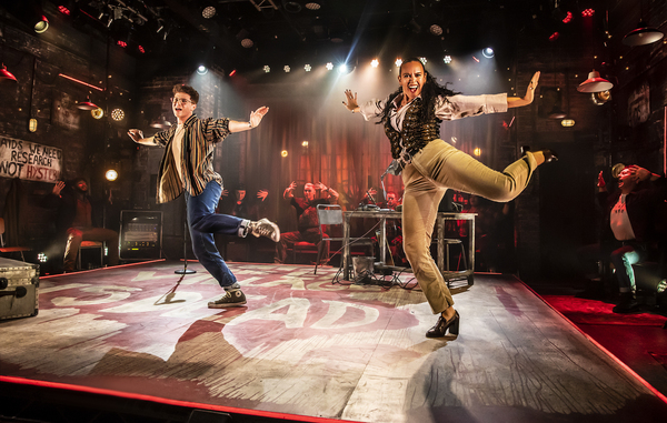 Jocasta Almgill (Joanne) and Blake Patrick Anderson (Mark) in RENT at Hope Mill Theat Photo