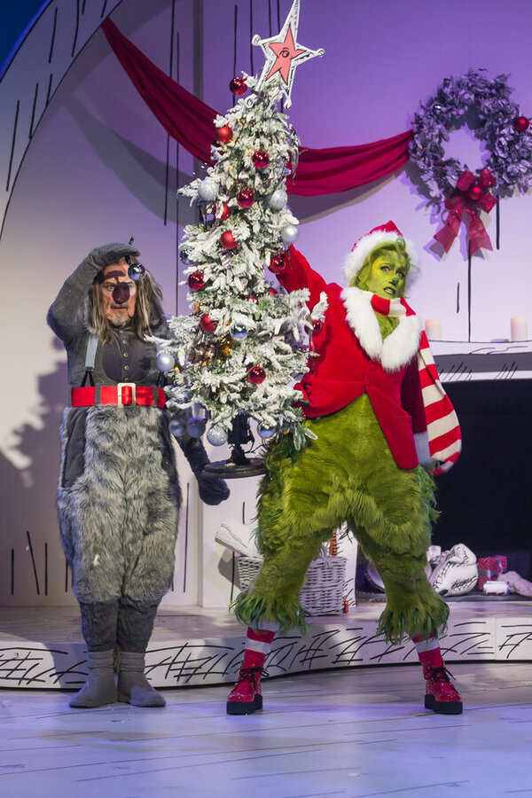 Denis O'Hare as Old Max, Matthew Morrison as Grinch Photo