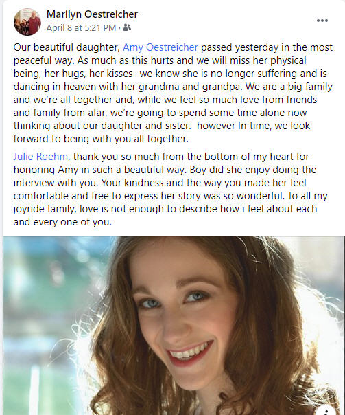 BWW Feature: Remembering Amy Oestreicher - A Woman of Substance and An Artist With A Mission