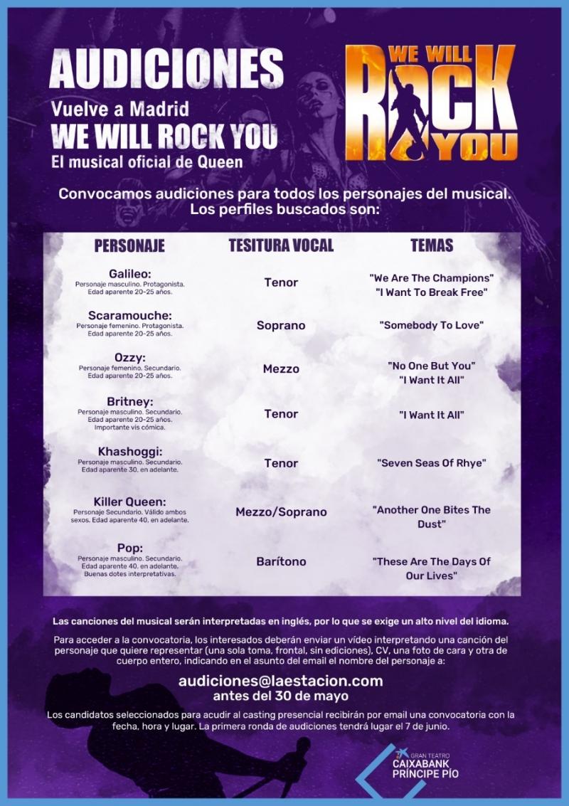 CASTING CALL: Audiciones para WE WILL ROCK YOU