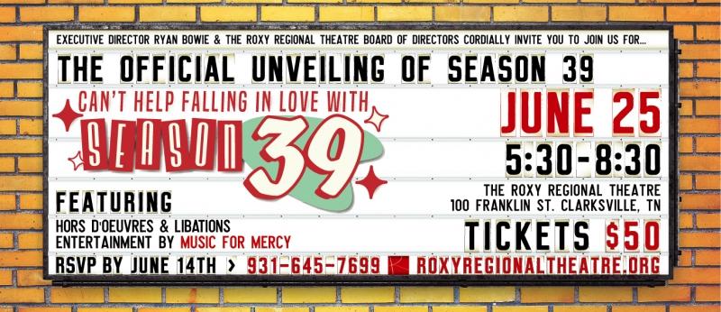 NEW SEASON REVEAL at Roxy Regional Theatre Set for Friday 6/25