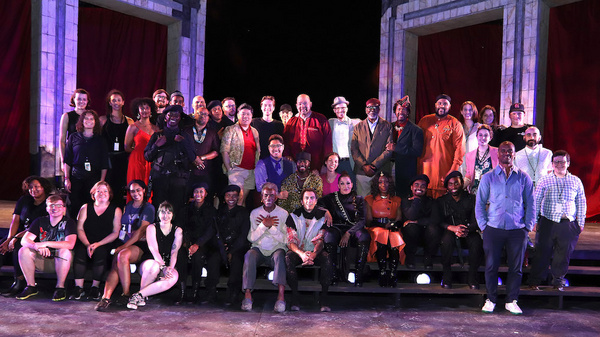 Andre De Shields (seated in cream top) and the Company of KING LEAR. Photo by Lia Cha Photo