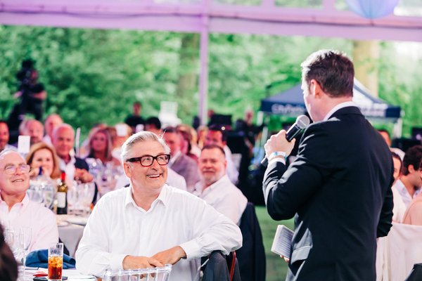 Todd Haimes (Artistic Director/CEO, far left), Alec Baldwin & auctioneer Pat Tully  Photo
