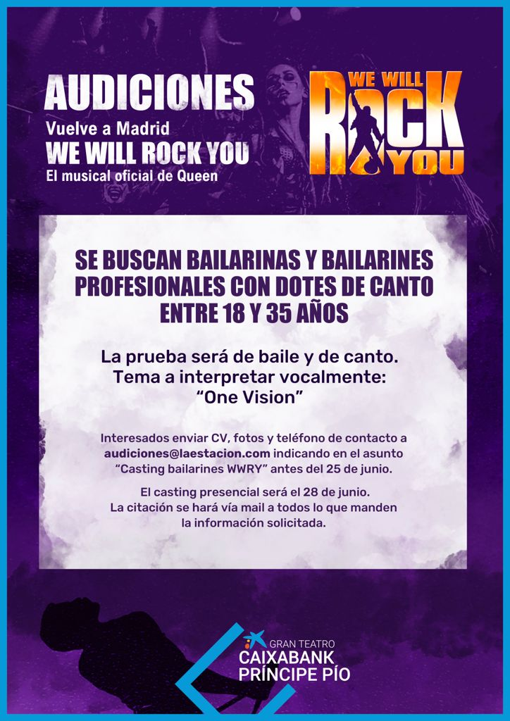 CASTING CALL: WE WILL ROCK YOU convoca audiciones para bailarines