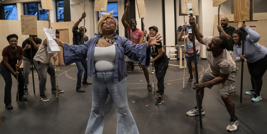 Photo Flash: Go Inside Rehearsals for Shakespeare in the Park's MERRY WIVES; Increased Aud Photo