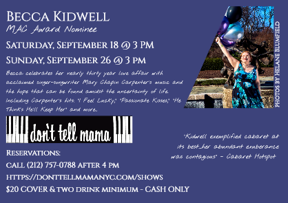 Becca Kidwell To Present MY MAYBE WORLD WITH MARY CHAPIN CARPENTER - A TRIBUTE At Don't Tell Mama