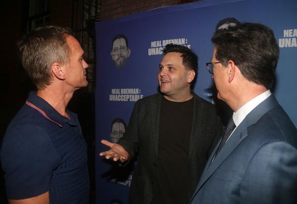Neil Patrick Harris, Director Derek DelGaudio and Stephen Colbert  Photo