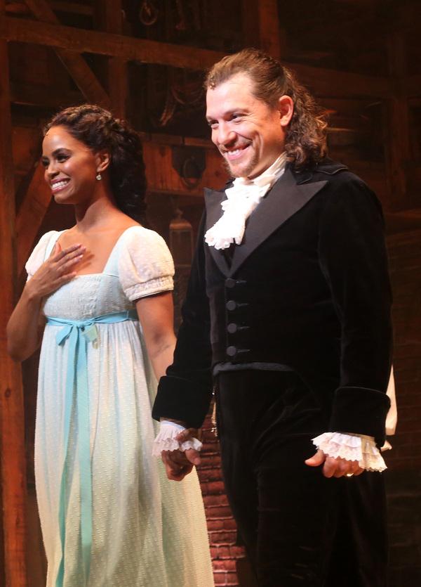 Krystal Joy Brown as Eliza Hamilton and Miguel Cervantes as Alexander Hamilton Photo