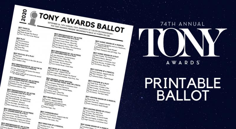 Download BroadwayWorld's Printable Ballot for the Tony Awards